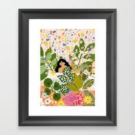 Bathing with Plants Framed Art Print