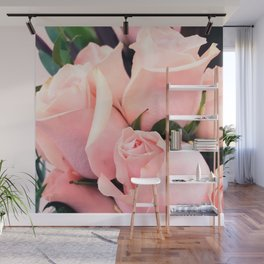 Glitzy Glam Pastel Pink Romantic Roses Bouquet Wall Mural