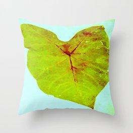 elephant ear, green, light blue Throw Pillow