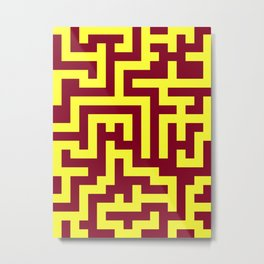 Electric Yellow and Burgundy Red Labyrinth Metal Print