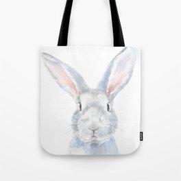 Gray Bunny Rabbit Watercolor Painting Tote Bag