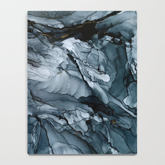 Dark Payne's Grey Flowing Abstract Painting Notebook
