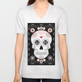 Sugar Skull Papel Picado - Day of the dead Unisex V-Neck