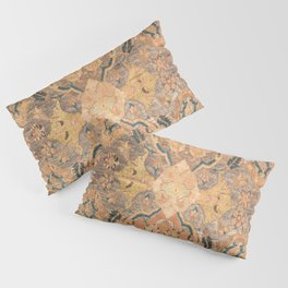 Persian Motif III // 17th Century Ornate Rose Gold Silver Royal Blue Yellow Flowery Accent Rug Patte Pillow Sham
