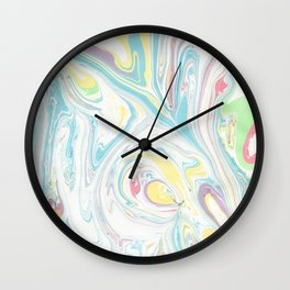 Hand painted abstract green yellow pink teal watercolor marble Wall Clock