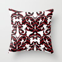 damask Throw Pillows featuring Damask by Annie Skrmetti