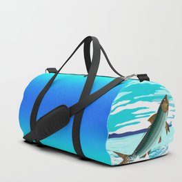 tarpon leaping out of sea Duffle Bag