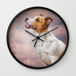 Jack Russell Terrier. Drawing, illustration funny dog Wall Clock