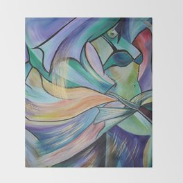 Middle Eastern Belly Dance With Pastel Veils Throw Blanket