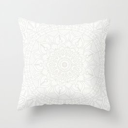 Cream on White Mandala Circle of Life Throw Pillow