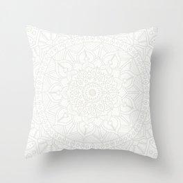 Cream on White Mandala Circle of Life Throw Pillow