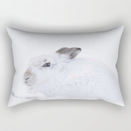 white mountain hare (lepus timidus) sitting on snow Rectangular Pillow