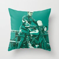 palestine Throw Pillows featuring T.E. Lawrence on his Brough Superior by Saddle Bums