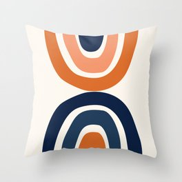 Abstract Shapes 11 in Burnt Orange and Navy Blue Throw Pillow