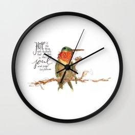 """Emily Dickinson """"Hope"""" Hummingbird Wall Clock"""