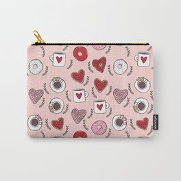 Valentines donuts and coffee cute gifts for love valentine andrea lauren Carry-All Pouch