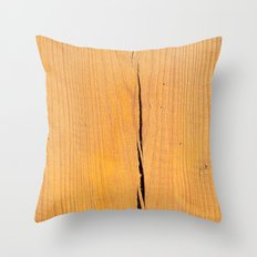 Crack in Wood Throw Pillow