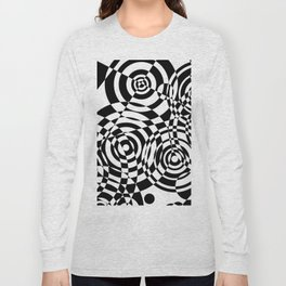 Raindrops 2 Black and White Geometric Painting Long Sleeve T-shirt