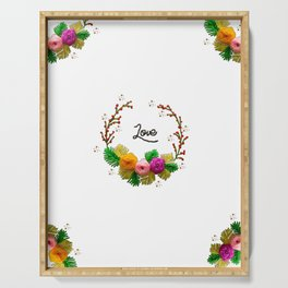 Hand Embroidery Ribbon Flowers Wreath - Love Serving Tray