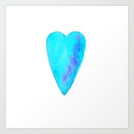 Turquoise Heart Full Of Love Watercolor Art Print