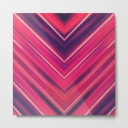 Modern Red / Black Stripe Abstract Stream Lines Texture Design (Symmetric edition) Metal Print