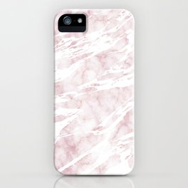 Girly Pink and White Modern Marble iPhone Case