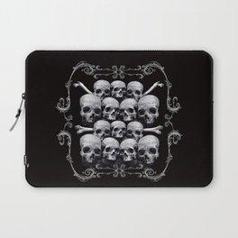 Skulls and Filigree - Black and White Laptop Sleeve
