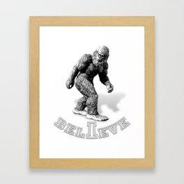 The Hide & Seek Champion I BELIEVE Funny Bigfoot Design Framed Art Print
