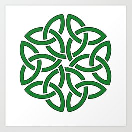 Shamrock Celtic Art Knotwork Design Art Print