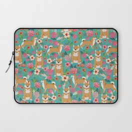 Shiba Inu floral dog breed pet art must have gifts pure bred shiba inus doggo Laptop Sleeve