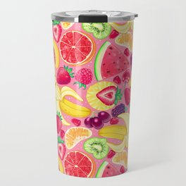 Fruit Cocktail on Pink Travel Mug