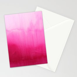 Modern fuchsia watercolor paint brushtrokes Stationery Cards
