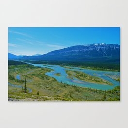 Looking over the Athabasca River on the east end of Jasper National Park, Canada Canvas Print