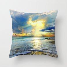 Blue Seascape Art Print Gold Sunrays Sunset Throw Pillow