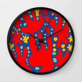 C'est la Vie Abstract Pattern French Art Red Yellow Blue Wall Clock
