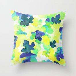 Blue Waterleaves Throw Pillow