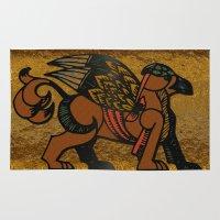 mythology Area & Throw Rugs featuring Gryphon New Age Mythology Folk Art by BohemianBound