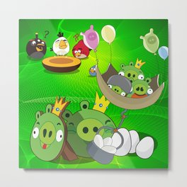Angry Birds Cartoon Mix Metal Print