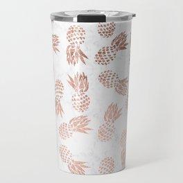 Modern faux rose gold pineapples white marble pattern Travel Mug