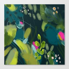 abstract jungle fever leaves in floral green Canvas Print