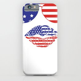 4th of July American Sunglasses and Lips Fourth of July iPhone Case