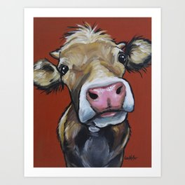 Cow art, Cute colorful cow art Art Print