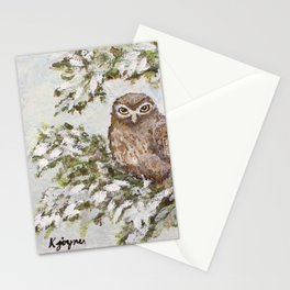 Owl In Tree Painting Stationery Cards