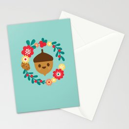 Acorn and Flowers Stationery Cards