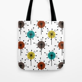 Atomic Era Sputnik Starburst Flowers Tote Bag