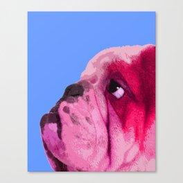 English bulldog portrait, Blue Pop art. Canvas Print