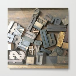 Vintage Wooden Letter Press Letters Metal Print