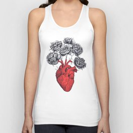 Heart with peonies Unisex Tank Top