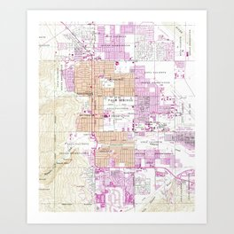 Vintage Map of Palm Springs California (1957) Art Print