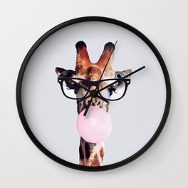GIRAFFE WEARING GLASSES BLOWING A PINK BUBBLEGUM Wall Clock